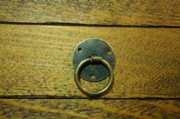 Pair of round ring pull handles tinplate, antique bronze finish C088